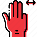 finger, gesture, hand, interaction, slide, triple icon