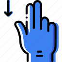 interaction, hand, down, slide, finger, gesture icon
