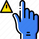 interaction, warning, finger, gesture, hand icon
