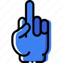 finger, gesture, hand, interaction, middle icon