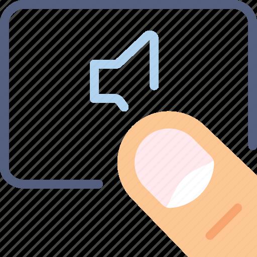 finger, gesture, hand, interaction, no, volume icon