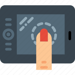finger, gesture, hand, interaction, press, tablet icon