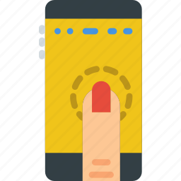 finger, gesture, hand, interaction, press, smartphone icon