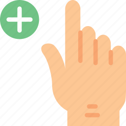 add, finger, gesture, hand, interaction icon