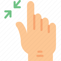 finger, gesture, hand, interaction, out, zoom icon