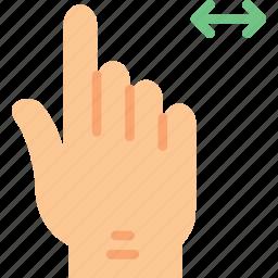 finger, gesture, hand, interaction, slide icon