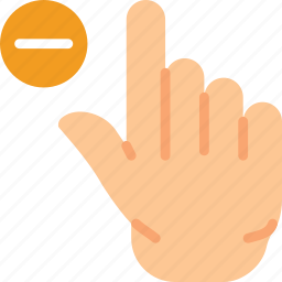 finger, gesture, hand, interaction, substract icon