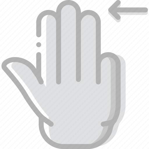 finger, gesture, hand, interaction, left, slide, triple icon