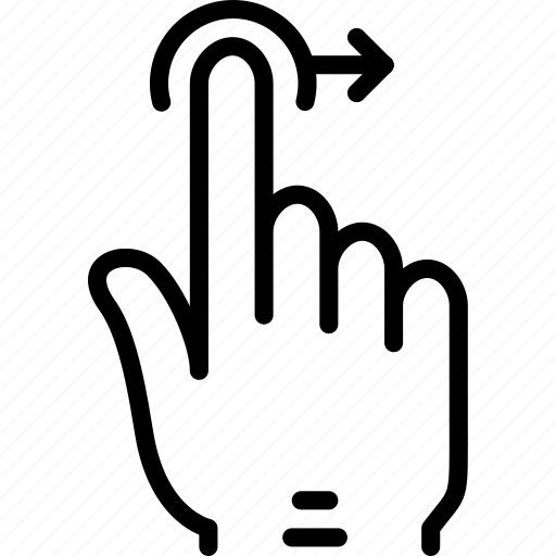 drag, finger, gesture, hand, interaction, right icon