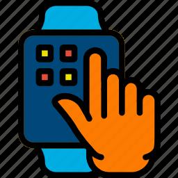 finger, gesture, hand, interaction, press, smartwatch icon