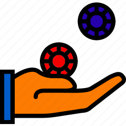 chips, finger, gambling, gesture, hand, interaction icon