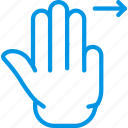 finger, gesture, hand, interaction, right, slide, triple icon