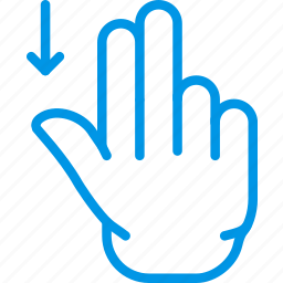 down, finger, gesture, hand, interaction, slide icon