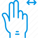 double, finger, gesture, hand, interaction, slide icon