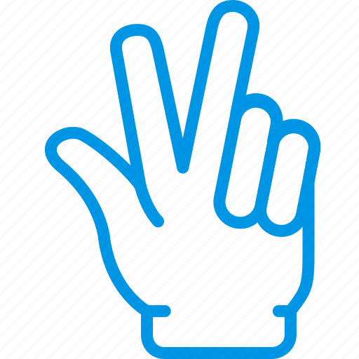 finger, fingers, gesture, hand, interaction, three icon