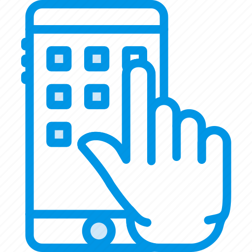 finger, gesture, hand, interaction, phone, press icon