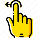 drag, finger, gesture, hand, interaction, left icon