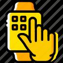finger, gesture, hand, interaction, press, smartwatch