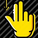 down, finger, gesture, hand, interaction, slide