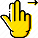 double, finger, gesture, hand, interaction, right, slide