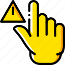 finger, gesture, hand, interaction, warning icon