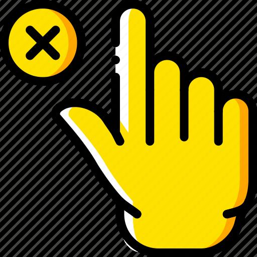 delete, finger, gesture, hand, interaction icon