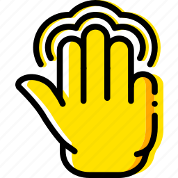 finger, gesture, hand, interaction, push, triple icon