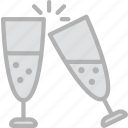 champagne, glasses, holidays, travel icon