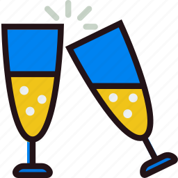 champagne, glasses, holidays, relax, travel icon