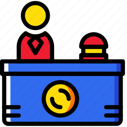 desk, hotel, reception, service, travel icon