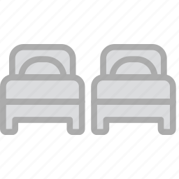 beds, double, hotel, service, travel icon