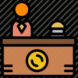 desk, hotel, reception, service, travel icon