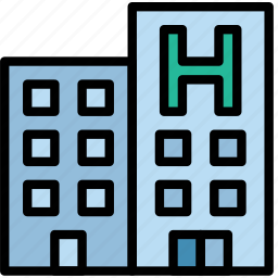 building, hotel, service, travel icon
