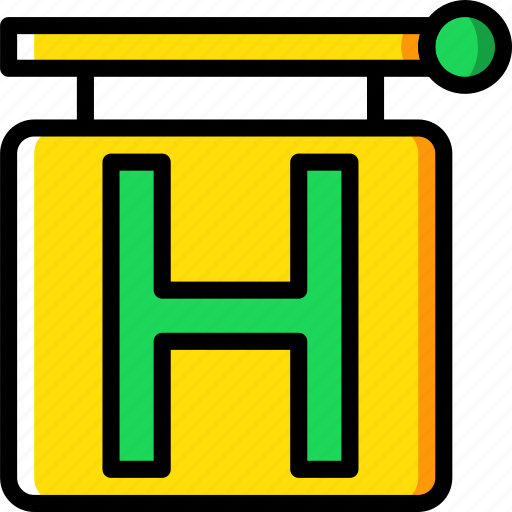 hotel, service, sign, travel icon