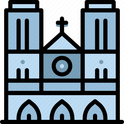 building, cathedral, dame, monument, notre icon