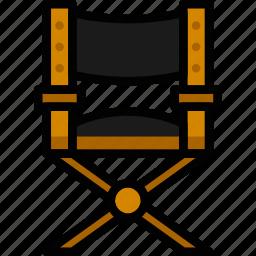 chair, cinema, director, film, movie icon