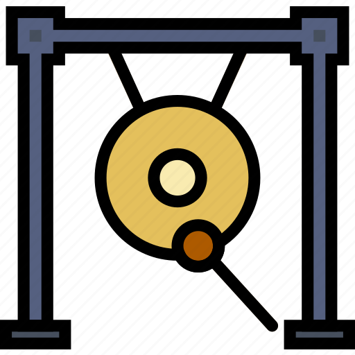 gong, music, play, sound icon