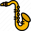 music, play, saxophone, sound icon