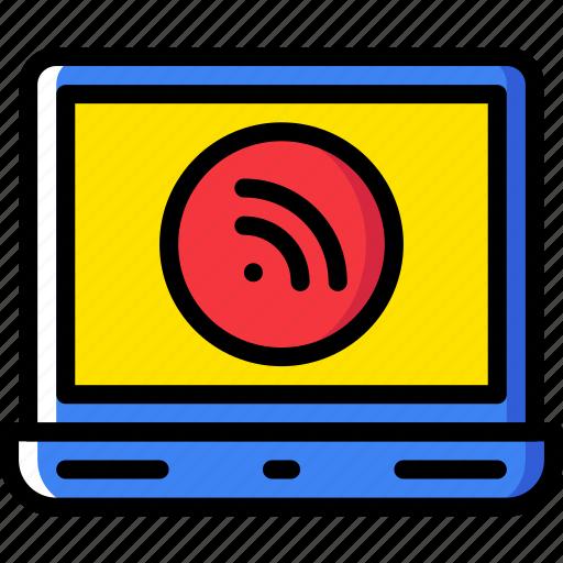 communication, laptop, media, news, signal icon