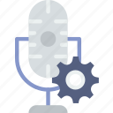 communication, media, microphone, news, settings icon