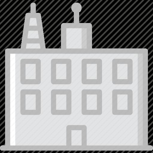 building, communication, media, news icon