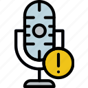 communication, media, microphone, news, warning icon