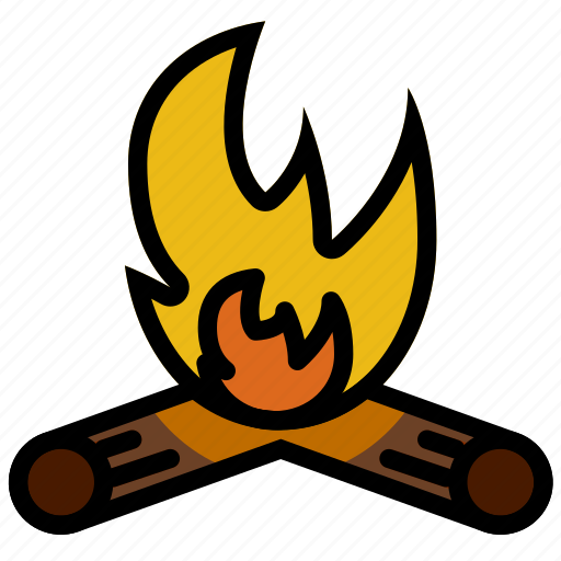 campfire, forest, outdoors, wild icon