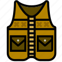 fishing, forest, outdoors, vest, wild icon