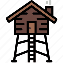 lodge, wild, forest, hunting, outdoors icon