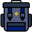 backpack, camping, forest, outdoors, wild icon