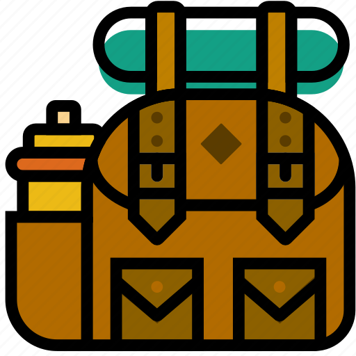 backpack, forest, hiking, outdoors, wild icon