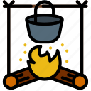 forest, outdoor, outdoors, stove, wild icon
