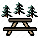 area, forest, outdoors, picnic, wild icon