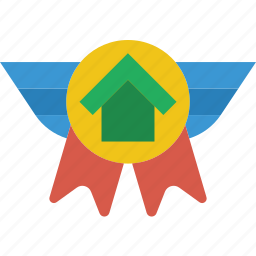badge, estate, home, house, property, real icon